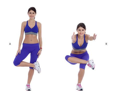 mujer sola: Pararse en la pierna izquierda y cruzar el tobillo derecho sobre el muslo izquierdo. Su rodilla derecha debe estar abierta a un lado. (A) Empuje las caderas hacia atr�s y doblar la rodilla izquierda a la inferior en una posici�n en cuclillas, alcanzando los brazos delante de ustedes a medida que se baja. (B) Foto de archivo