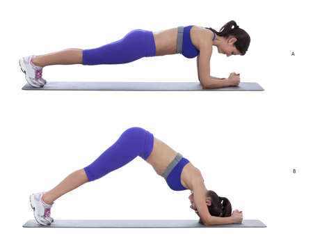 exhale: From a pushup position with your arms and legs fully extended (wrists directly under shoulders) contract your core and abdominal muscles (A) Slowly exhale and shift your weight backward by pushing your hips up and back. Continue moving until your body for