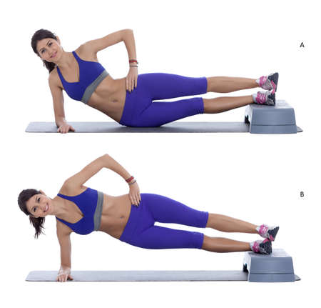 plank position: Step by step instructions: Get  in the side plank position, leave your hip on the ground to begin with. (A) Then use your core muscles to raise your hips upwards. (B) Stock Photo