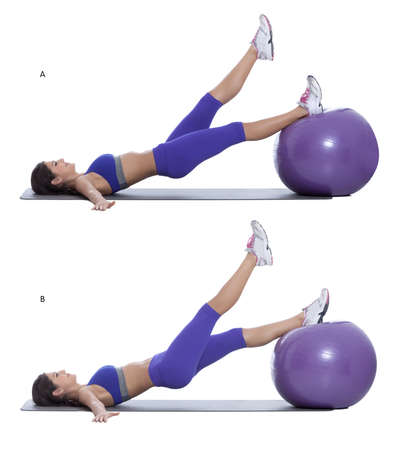 b ball: Step by step instructions: Lay on your back with a swiss ball at about the level of your knees. Put one foot on the swiss ball and raise your other leg up straight in the air. (A) Switch legs. (B)