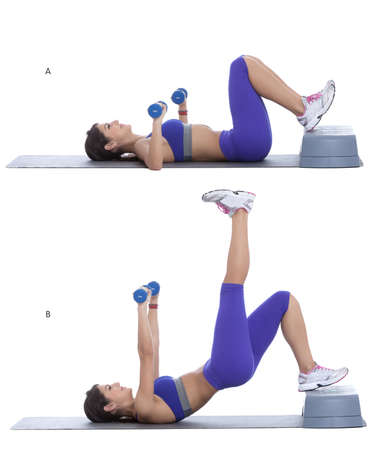 facing away: Lie on your back with your knees bent and heels on the stepper. Hold a pair of dumbbells in each hand, keeping the weights directly above your chest with your palms facing away from you. (A) Press down with left leg and lift hips up into a bridge as arms