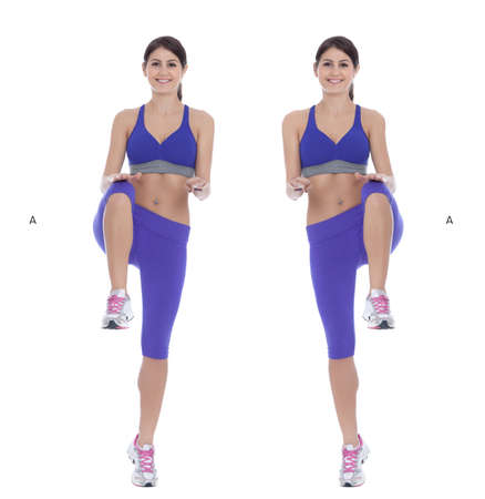 human knee: Get knees up towards the sky, through your chest. (A) Explode off of the ground with all of your legs, including your hips. (B) Stock Photo