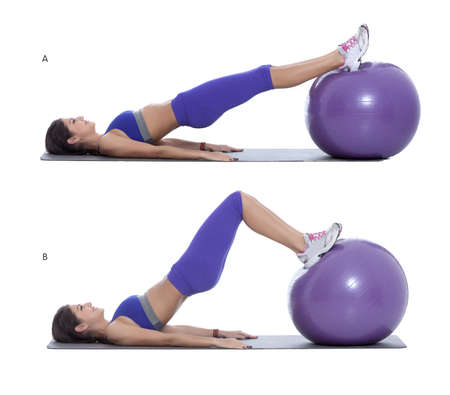 b ball: Step by step instructions: Start position as shown by lying on floor, bottom of feet supported on ball. (A) Lift your hips up off the floor and contract your butt and hamstrings. (B)