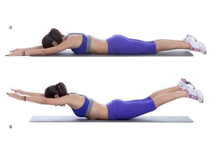 abs: Step by step instructions: Lie face down on the floor, with your arms and legs extended, so your body forms a straight line. (A) Keeping your head and neck in a neutral position, simultaneously lift your arms and legs up toward the ceiling to form a gentl