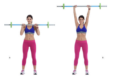 upright row: Step by step instructions: With your feet shoulder-width apart, position a bar on your upper chest, gripping it with hands just wider than shoulder-width apart. Keep your chest upright and your core braced. (A) Press the bar directly upwards until your ar Stock Photo