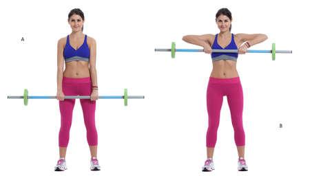 Etape par étape: Levez-vous et maintenez la barre avec vos mains devant vos cuisses, les mains à une position moyenne adhérence, les paumes vers l'arrière. (A) Soulever la barre jusqu'à ce qu'elle atteigne le haut de la poitrine et le bas du dos lentement. (B)
