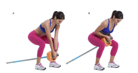 back straight: Step by step instructions: Set up an sports competition (long) barbell with weight plates on one end only. Put the other end of the bar against a wall or something heavy so it can't slide backwards. Straddle the bar with your knees slightly bent. (A) Keeping your back straight and exhaling, pull the bar straight up by bending your elbows until the plates touch your chest. (B) Stock Photo