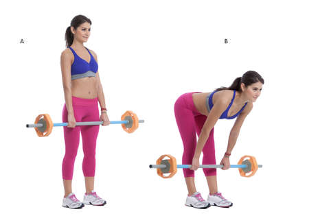 back straight: Step by step instructions: Stand facing with your legs slightly wider than shoulder width apart holding a barbell. (A) Bend forward at your waist, keep your back straight and nearly parallel to the floor, without moving your torso, exhale and lift the bar