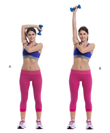 Step by step instructions: Start standing with feet slightly wider than hips, holding one dumbbell overhead, palm facing away from body. (A) Supporting elbow with opposite hand, bend arm and lower dumbbell in front of head and towards the front of the opp
