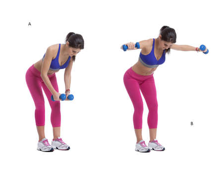 Step by step instructions: bend forward at your hips until your torso is nearly parallel to the floor. Let the dumbbells hang straight down from your shoulders, your palms facing forward. (A) Without moving your torso, raise your arms straight out to your