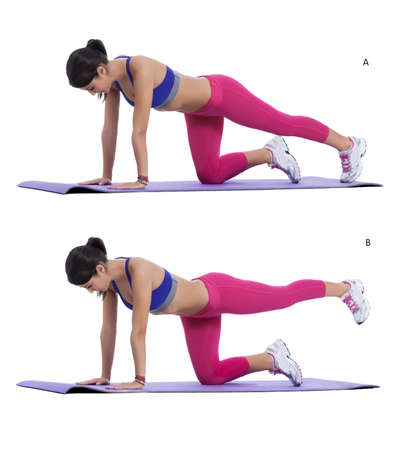 knees bent: Step by step instructions: Get on all fours so that your hands are shoulder width apart and your knees are straight below your hips. Bracing your abdominals and keeping your knee bent lift one leg up behind you until it is in line with your body and your