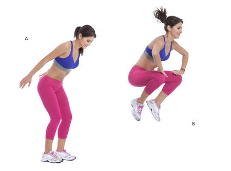 back straight: Step by step instructions: Stand with the feet shoulder width apart and keep the back straight. (A) Jump up in a powerful movement bringing the knees up to the chest. (B)