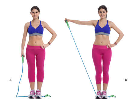 Step by step instructions: Slip one end of the band under your right foot, anchoring it to the floor. (A) Slowly raise your right arm laterally, pivoting only from the shoulder. The elbow joint must not move at any time during this exercise. (B)