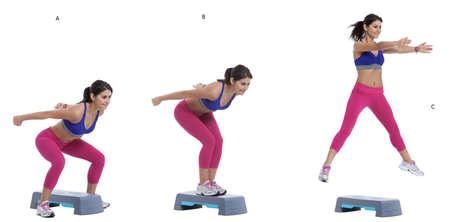 Istruzioni passo passo: Stand dritto con i piedi su entrambi i lati di una panchina bassa. (A) Spingere i fianchi indietro e venire a una posizione di squat (B) e in un salto di movimento terra e la terra in panchina in una posizione di squat. Ora, salta dalla panchina. (C)