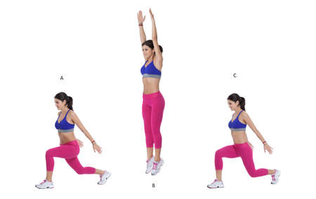 jumping: Step by step instructions: Begin in a lunge stance with your left leg forward. (A) Push through both feet and jump up. (B) Land in a lunge position, this time with your right leg in front. (C) Stock Photo