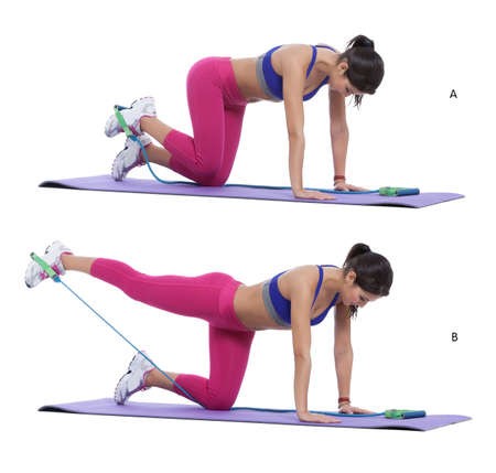 ut: Step by step instructions: Attach one end of the band to a steady object like a railing or a pole and the other end to your ankle while lying down. (A) Pull your leg away to stretch the elastic and bring ut back without bending your body or leg. (B)