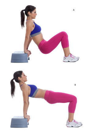 without legs: Step by step instructions: Start by sitting on the stepper with your arms and your legs extended. (A) Lift your hips up as high as theyll go. Lower them slowly toward the ground (without touching it) and then lift them again. (B) Stock Photo