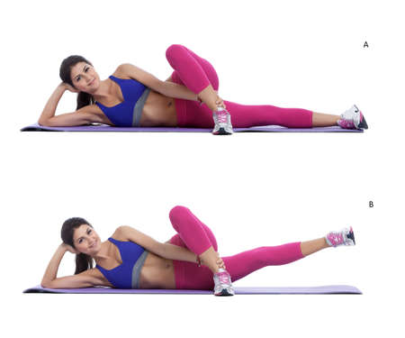 activate: Step by step instructions: lay on your side and grab your upper leg with your arm. (A) Engage and activate your core muscleby raising the lower leg up into the air, maintaining the same plane as your bottom leg. (B)