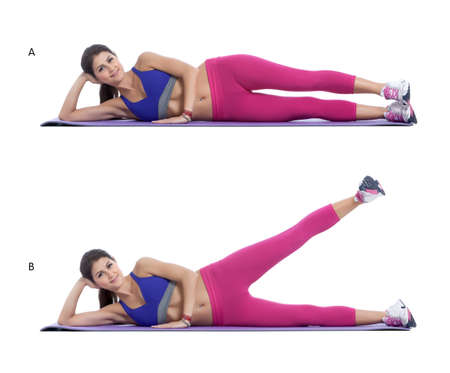 raises: Step by step instructions: lay on your side with your hip joints directly above each other ? and keep the hip joints level. (A) Engage and activate your core muscle. Raise your top leg up into the air, maintaining the same plane as your bottom leg. (B) Stock Photo