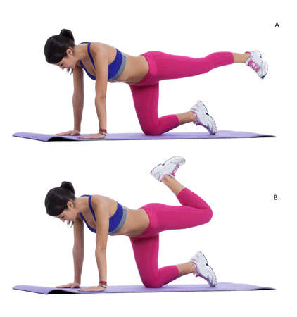 Step by step instructions: Get on all fours so that your hands are shoulder width apart and your knees are straight below your hips. Bracing your abdominals and keeping your knee bent lift one leg up behind you until it is in line with your body and your