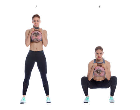 Athletic woman performing a functional exercise with kettlebell. Foto de archivo