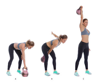 snatch: Athletic woman performing a functional exercise with kettlebell. Stock Photo
