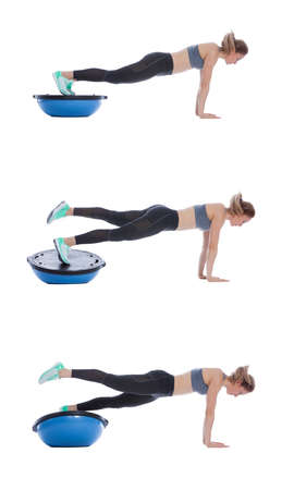 Balance training ball exercise execution with a professional trainer.