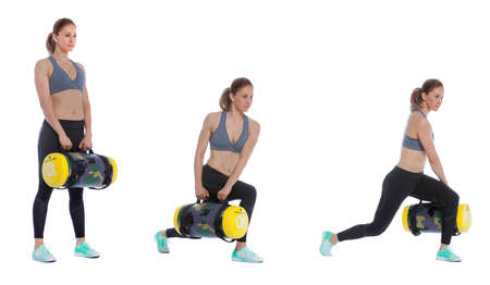 rotational: Core bag exercise executed with a professional trainer.