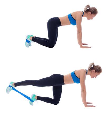 Elastische band oefeningen uitgevoerd met een professionele trainer.