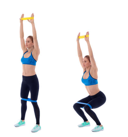 Elastic band exercises executed with a professional trainer.