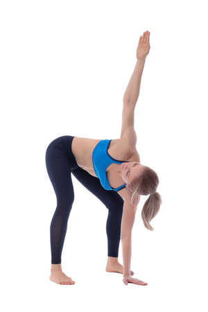 Stretching pose executed with a professional trainer.