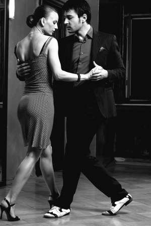 Beautiful dancers performing an argentinian tango dance Stock Photo