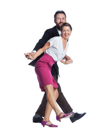 Funny people having fun dancing lindy hop swing dance.