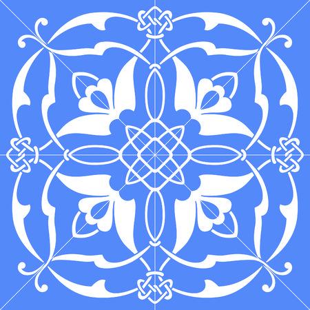 symmetrical square vector floral ornament tile
