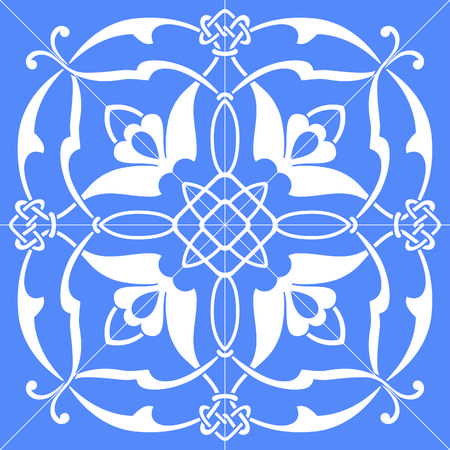 symmetrical square vector floral ornament tile