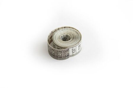 sewing tailor measuring tape on white background