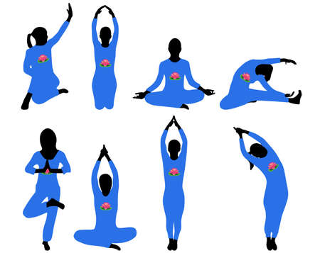 Silhouettes of yoga