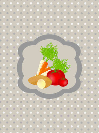 Abstract retro background with vegetables  Illustration