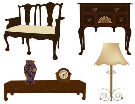 Silhouettes of different retro furniture  Vector