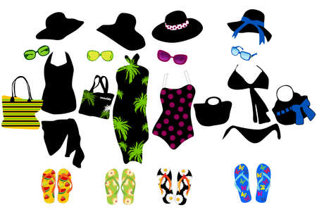 Fashion elements for beach  Vector