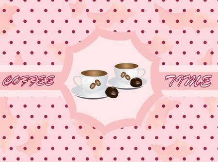 Retro background with coffee  Illustration
