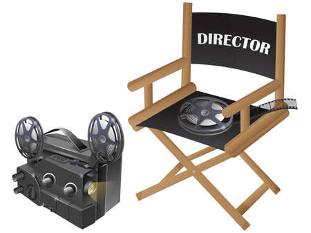 Film chair with video projector  Stock Vector - 25057483