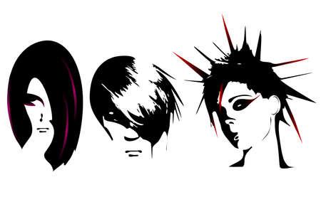 black wigs: Women hairstyle  Illustration