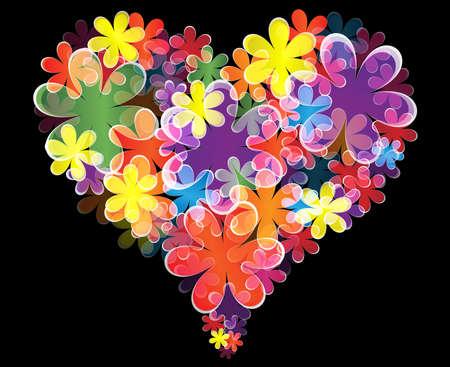Floral heart on black background  Illustration