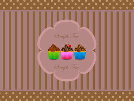 Abstract retro background with muffin  Illustration