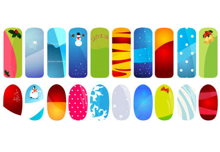 Nail designs with holidays details  Illustration