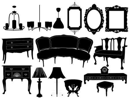 muebles antiguos: Siluetas de los diferentes muebles retro Vectores