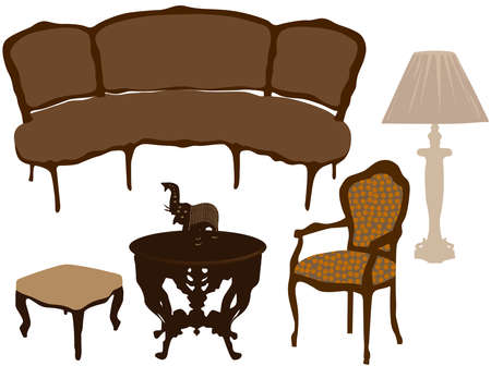 Silhouettes of different retro furniture