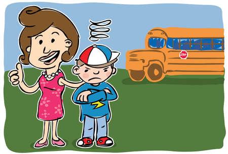 L�chelnde Mutter, die Kamera Daumen bis st�ndigen neben m�rrisch Sohn mit Schule Bus im Hintergrund