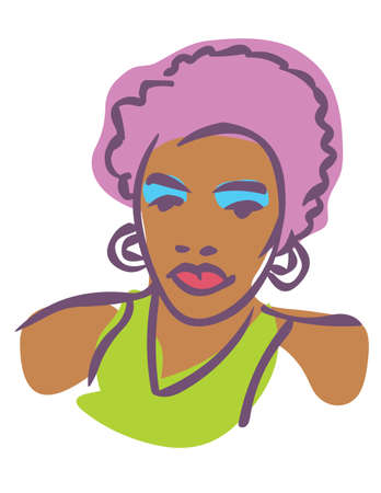 Stylized illustration of African American female 80s fashion model
